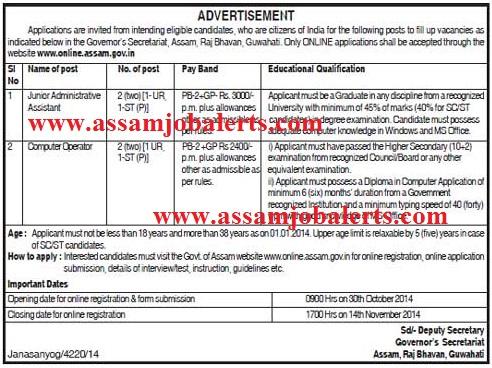 governor's secretariat Assam recruitment assamjobalerts