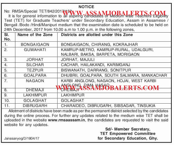 Assam Teachers Eligibility Test (TET) Admit Card Download For Graduate Teachers 2017