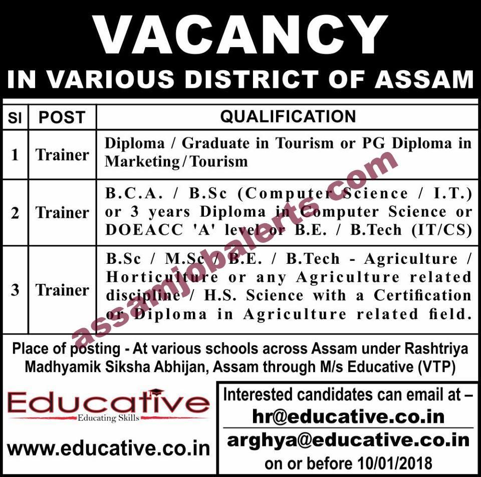 Trainer Vacancy at various schools across Assam under RMSA through M/s Educative (VTP)