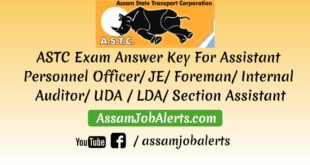 ASTC Exam Answer Key For Assistant Personnel Officer JE Foreman Internal Auditor UDA LDA Section Assistant