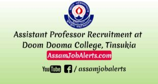 Assistant Professor Recruitment at Doom Dooma College, Tinsukia