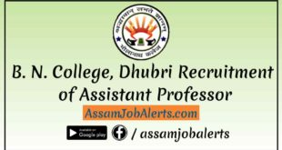 B. N. College, Dhubri Recruitment of Assistant Professor