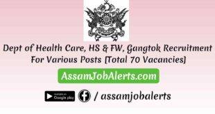 Dept of Health Care, HS & FW, Gangtok Recruitment For Various Posts