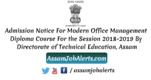 Admission Notice For Modern Office Management Diploma Course By Directorate of Technical Education, Assam