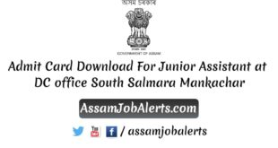 Admit Card Download For Junior Assistant at DC office South Salmara Mankachar