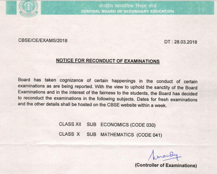 NOTICE FOR RE-CONDUCT OF CBSE EXAMINATIONS OF CLASS XII ECONOMICS AND CLASS X MATHS SUBJECT