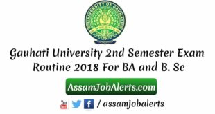 Gauhati University 2nd Semester Exam Routine 2018 For BA and B. Sc