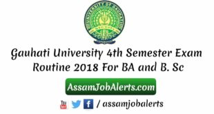 Gauhati University 4th Semester Exam Routine 2018 For BA and B. Sc