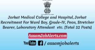 Jorhat Medical College and Hospital, Jorhat Recruitment For Various Posts Assamjobalerts.com