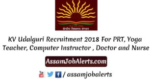 KV Udalguri Recruitment 2018 For PRT, Yoga Teacher, Computer Instructor , Doctor and Nurse