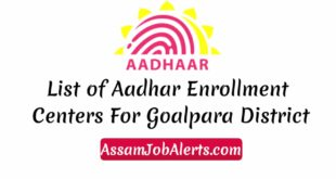 List of Aadhar Enrollment Centers For Goalpara District