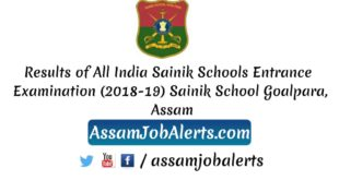 Results of All India Sainik Schools Entrance Examination (2018-19) Sainik School Goalpara, Assam