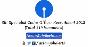 SBI Specialist Cadre Officer Recruitment 2018 [Total 119 Vacancies]