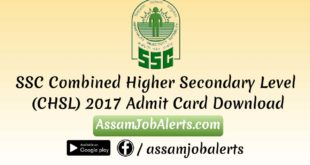 SSC Combined Higher Secondary Level (CHSL) 2017 Admit Card Download