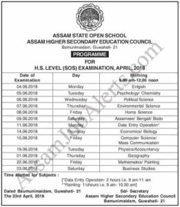 AHSEC HS (SOS) Examination Routine Datesheet