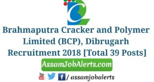 Brahmaputra Cracker and Polymer Limited (BCP), Dibrugarh Recruitment 2018