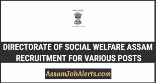 Directorate Of Social Welfare Assam Recruitment For Various Posts