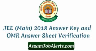 JEE (Main) 2018 Answer Key and OMR Answer Sheet Verification