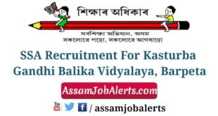 SSA Recruitment For Kasturba Gandhi Balika Vidyalaya, Barpeta