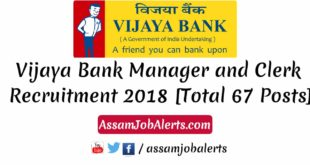 Vijaya Bank Manager and Clerk Recruitment 2018