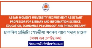 Assam Women's University Recruitment Assistant Professor For Library and Information Science, Education, Economics Psychology and Physiotherapy