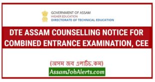 DTE ASSAM COUNSELLING NOTICE FOR COMBINED ENTRANCE EXAMINATION, CEE 2018