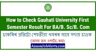 Gauhati University First Semester Result 2018 - GU 1st Sem Result For BAB. ScB. Com