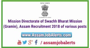 Mission Directorate of Swachh Bharat Mission (Gramin), Assam Recruitment 2018 of various posts