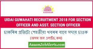 UIDAI Guwahati Recruitment 2018