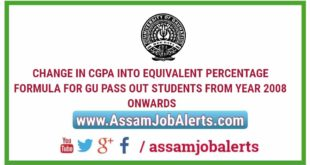 CHANGE IN CGPA INTO EQUIVALENT PERCENTAGE FORMULA FOR GU PASS OUT STUDENTS FROM YEAR 2008 ONWARDS