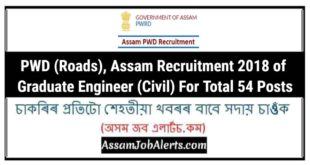PWD (Roads), Assam Recruitment 2018 of Graduate Engineer (Civil) For Total 54 Posts