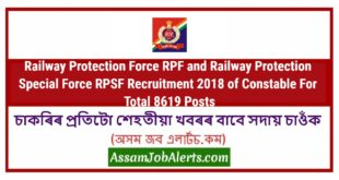 Railway Protection Force RPF and Railway Protection Special Force RPSF Recruitment 2018 of Constable For Total 8619 Posts
