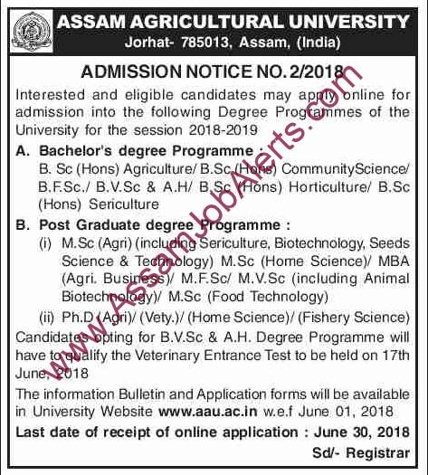 NOTIFICATION FOR THE ADMISSION UNDER ASSAM AGRICULTURAL UNIVERSITY