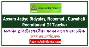 Assam Jatiya Bidyalay, Noonmati, Guwahati Recruitment Of Teacher