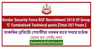 Border Security Force BSF Recruitment 2018 Of Group 'C' Combatised Technical posts [Total 207 Posts ]