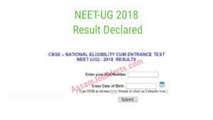 CBSE NEET 2018 Results For UG