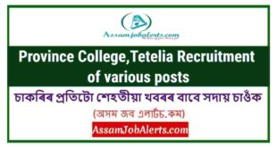 Province College,Tetelia Recruitment of various posts