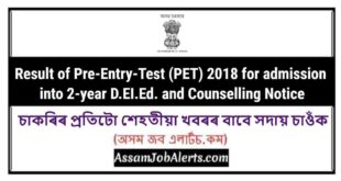 Result of Pre-Entry-Test (PET) 2018 for admission into 2-year D.EI.Ed. and Counselling Notice