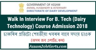 Walk In Interview For B. Tech (Dairy Technology) Course Admission 2018