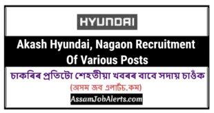 Akash Hyundai, Nagaon Recruitment Of Various Posts