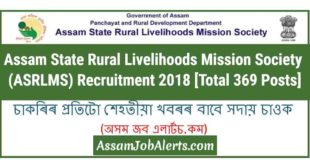 Assam State Rural Livelihoods Mission Society (ASRLMS) Recruitment 2018