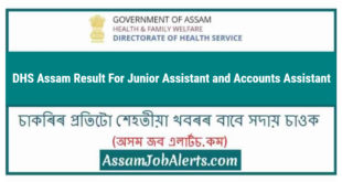 DHS Assam Result For Junior Assistant and Accounts Assistant