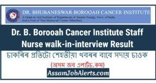 Dr. B. Borooah Cancer Institute Staff Nurse walk-in-interview Result