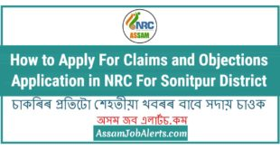 How to Apply For Claims and Objections Application in NRC For Sonitpur District