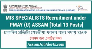 MIS SPECIALISTS Recruitment under PMAY (U) ASSAM