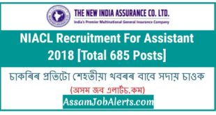 NIACL Recruitment For Assistant 2018