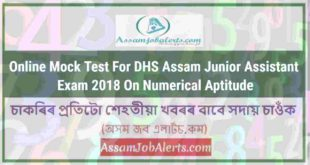 Online Mock Test For DHS Assam Junior Assistant Exam 2018 On Numerical Aptitude