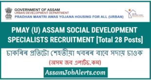 PMAY (U) Assam Social Development Specialists Recruitment
