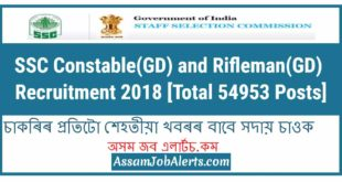 SSC Constable(GD) and Rifleman(GD) Recruitment 2018
