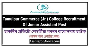 Tamulpur Commerce (Jr.) College Recruitment Of Junior Assistant Post